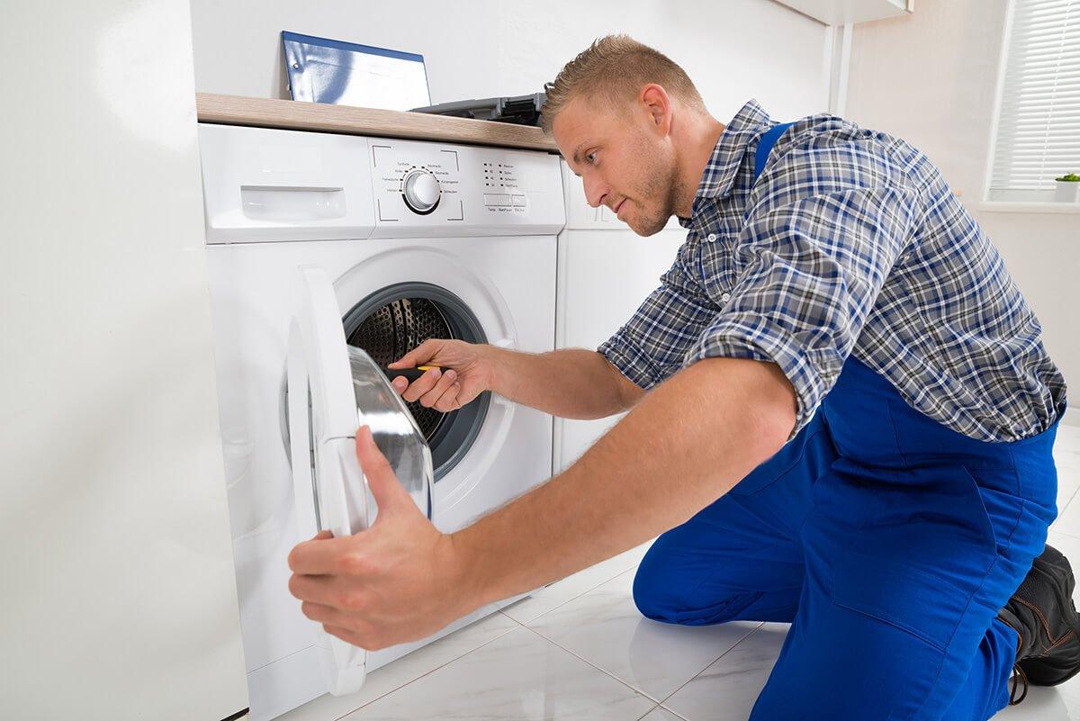 Technician checking Washing