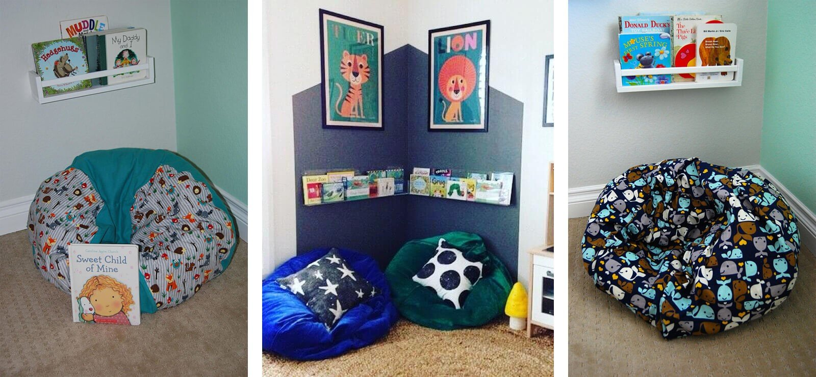 bean bag reading nook ideas for kids