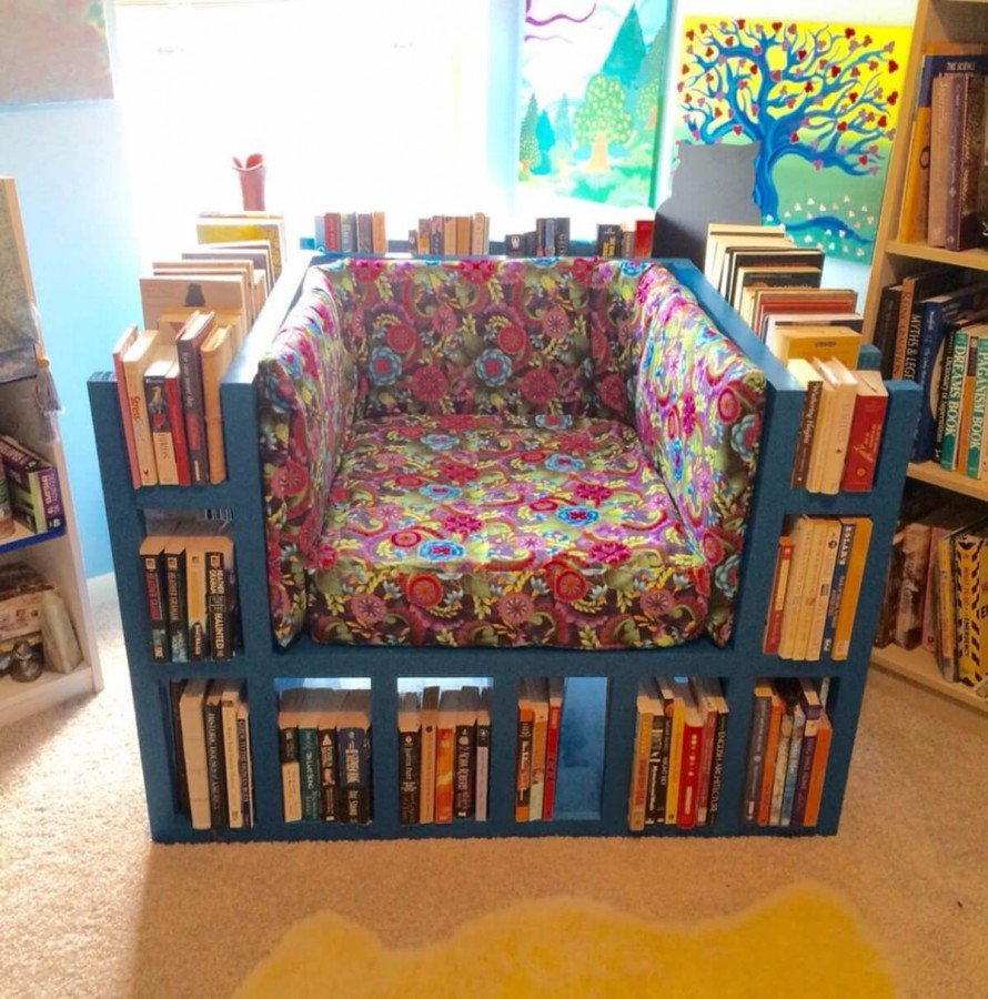 blue diy bookshelf chair