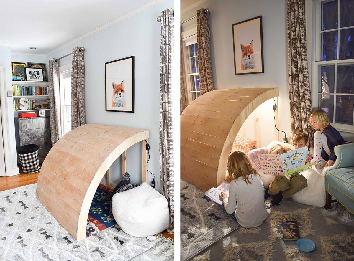 wooden diy reading nook
