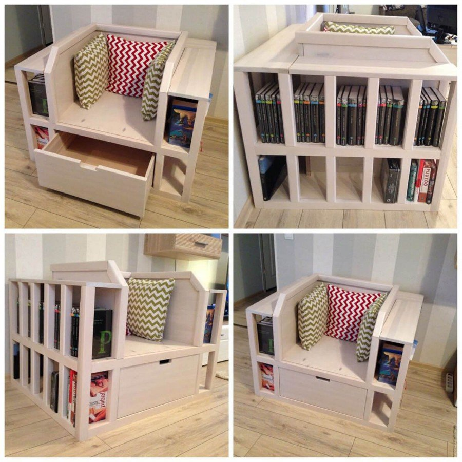 diy bookshelf reading chair with drawer