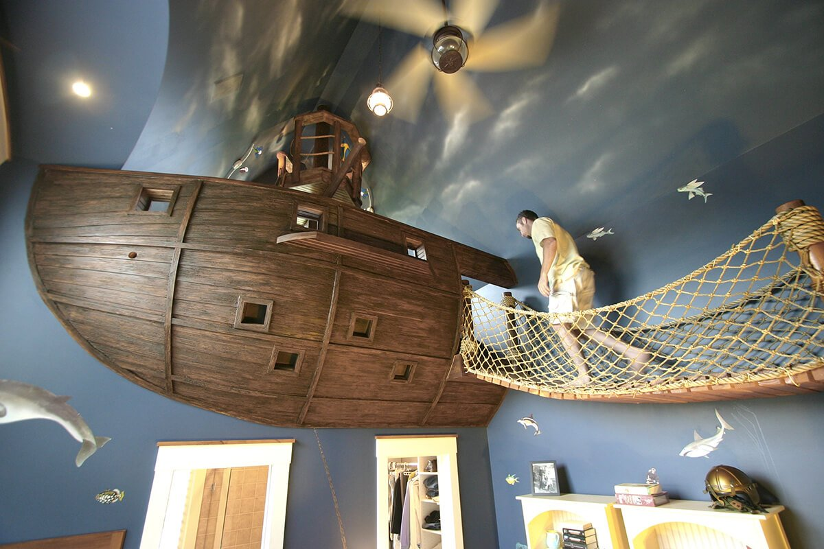 pirate ship reading nook idea for kids