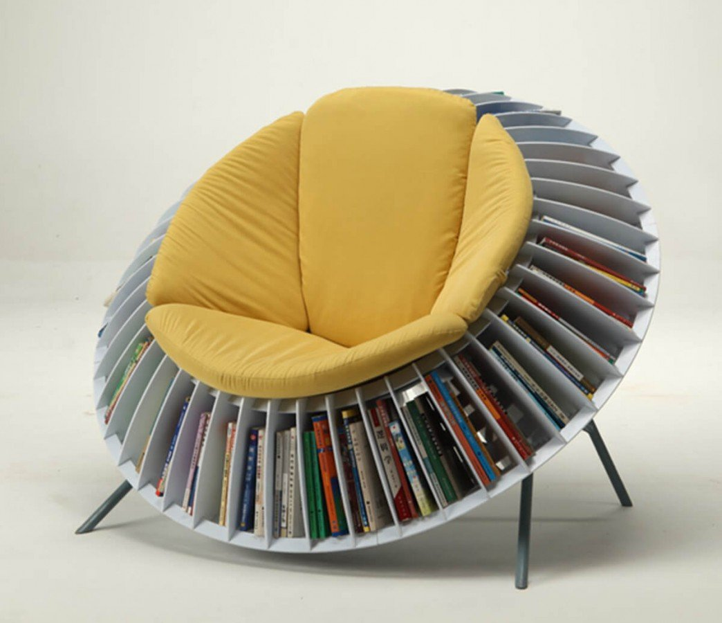 sunflower chair with book shelves